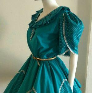 Vintage teal ruffled circle skirt dress